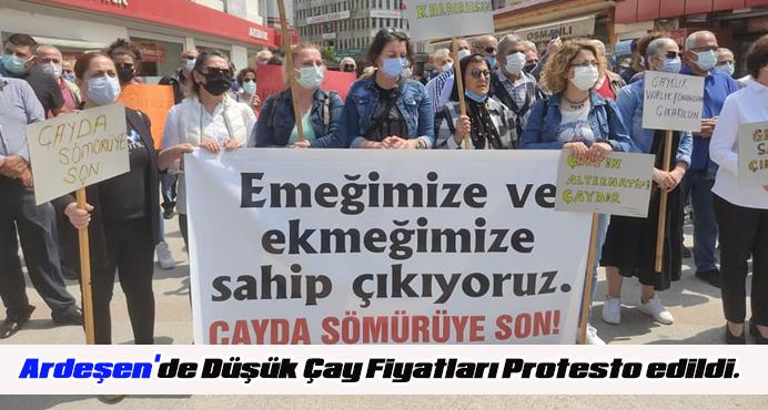 Ardeşen'de Düşük Çay Fiyatları Protesto edildi.