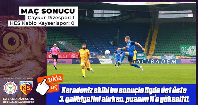 Ç.RİZESPOR EVİNDE KAYSERİSPOR'U 1- MAĞLUP ETTİ