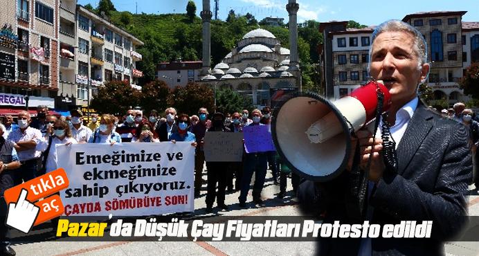 Pazar'da Düşük Çay Fiyatları Protesto edildi