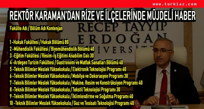 REKTÖR KARAMAN'DAN MÜJDELİ HABER