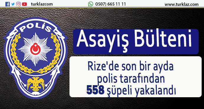 RİZE'DE 558 ŞÜPHELİ GÖZALTINA ALINDI