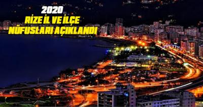 2020 RİZE İL VE İLÇE NÜFUSLARI AÇIKLANDI