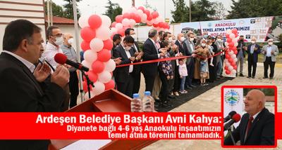 Ardeşen'de Diyanete Bağlı Anaokulunun Temeli Atıldı.