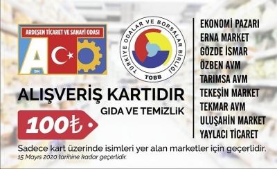 ARDEŞEN'DE İHTİYAÇ SAHİPLERİNE 100 TL ALIŞVERİŞ KARTI