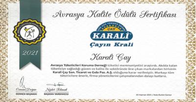 Avrasya Kalite Ödülü Karali Çay'a verildi