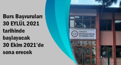 Burs Başvuruları 30 EYLÜL 2021 tarihinde başlayacak 30 Ekim 2021'de sona erecek