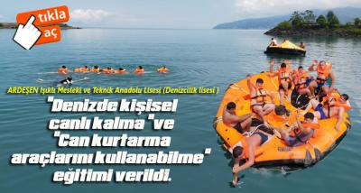 Gemici adayı öğrencilere Denizde eğitim verildi